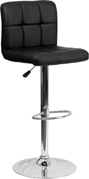 Contemporary Black Quilted Vinyl Adjustable Height Barstool FLF-DS-810-MOD-BK-GG