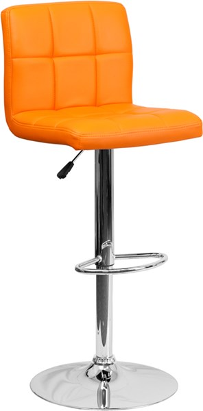 Contemporary Orange Quilted Vinyl Adjustable Height Barstool FLF-DS-810-MOD-ORG-GG