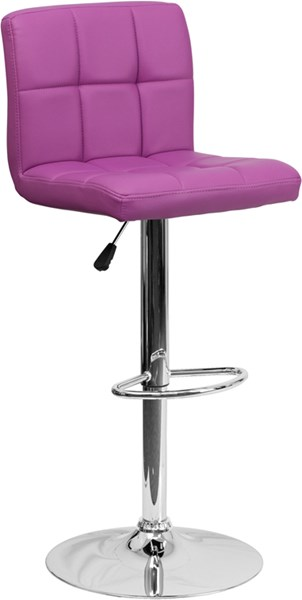 Contemporary Purple Quilted Vinyl Adjustable Height Barstool FLF-DS-810-MOD-PUR-GG