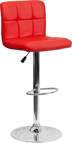 Contemporary Red Quilted Vinyl Adjustable Height Barstool FLF-DS-810-MOD-RED-GG