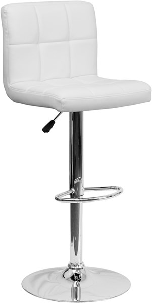 Contemporary White Quilted Vinyl Adjustable Height Barstool FLF-DS-810-MOD-WH-GG