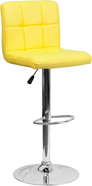 Contemporary Yellow Quilted Vinyl Adjustable Height Barstool FLF-DS-810-MOD-YEL-GG