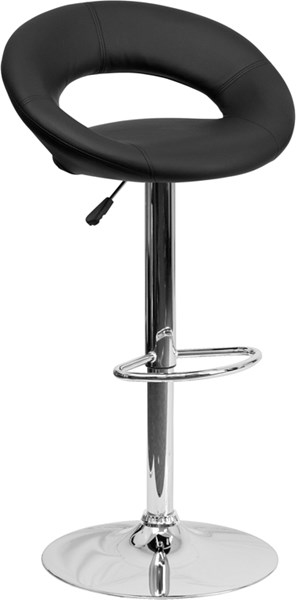 Contemporary Black Vinyl Rounded Back Adjustable Height Barstool FLF-DS-811-BK-GG