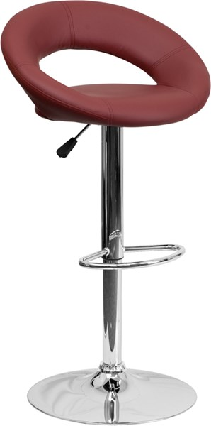 Contemporary Burgundy Vinyl Rounded Back Adjustable Height Barstool FLF-DS-811-BURG-GG