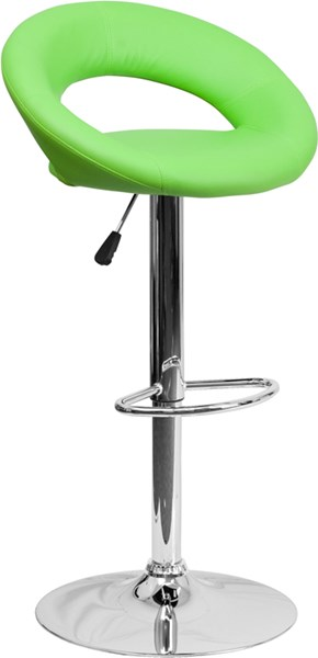 Contemporary Green Vinyl Rounded Back Adjustable Height Barstool FLF-DS-811-GRN-GG