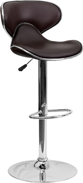 Contemporary Cozy Mid-Back Brown Vinyl Adjustable Height Barstool FLF-DS-815-BRN-GG