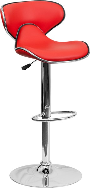 Contemporary Cozy Mid-Back Red Vinyl Adjustable Height Barstool FLF-DS-815-RED-GG