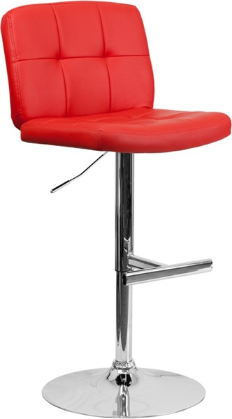 Contemporary Tufted Red Vinyl Adjustable Height Barstool FLF-DS-829-RED-GG