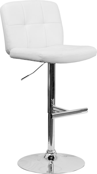 Contemporary Tufted White Vinyl Adjustable Height Barstool FLF-DS-829-WH-GG