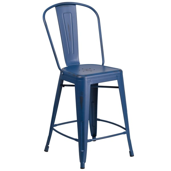 Flash Furniture 24 Inch Antique Blue Metal Indoor Outdoor Counter Height Stool with Back FLF-ET-3534-24-AB-GG