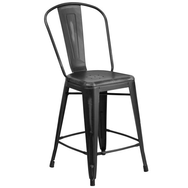 Flash Furniture 24 Inch Black Metal Indoor Outdoor Counter Height Stool with Back FLF-ET-3534-24-BK-GG