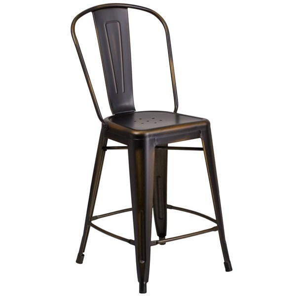 Flash Furniture 24 Inch Copper Metal Indoor Outdoor Counter Height Stool with Back FLF-ET-3534-24-COP-GG