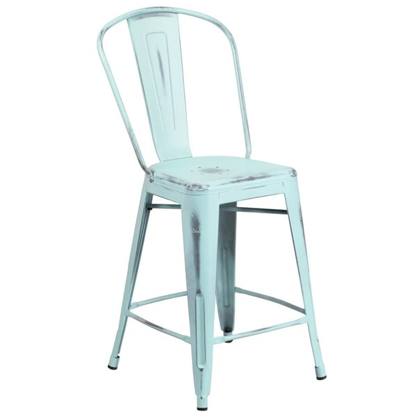 Flash Furniture 24 Inch Green Blue Metal Indoor Outdoor Counter Height Stool with Back FLF-ET-3534-24-DB-GG