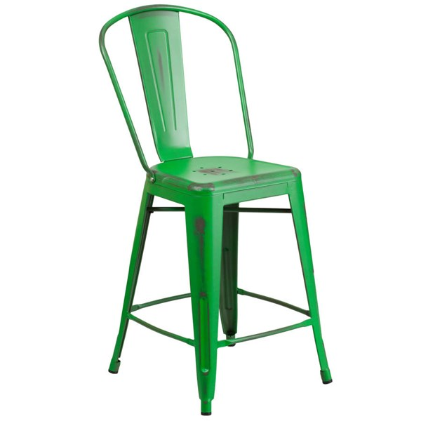 Flash Furniture 24 Inch Green Metal Indoor Outdoor Counter Height Stool with Back FLF-ET-3534-24-GN-GG