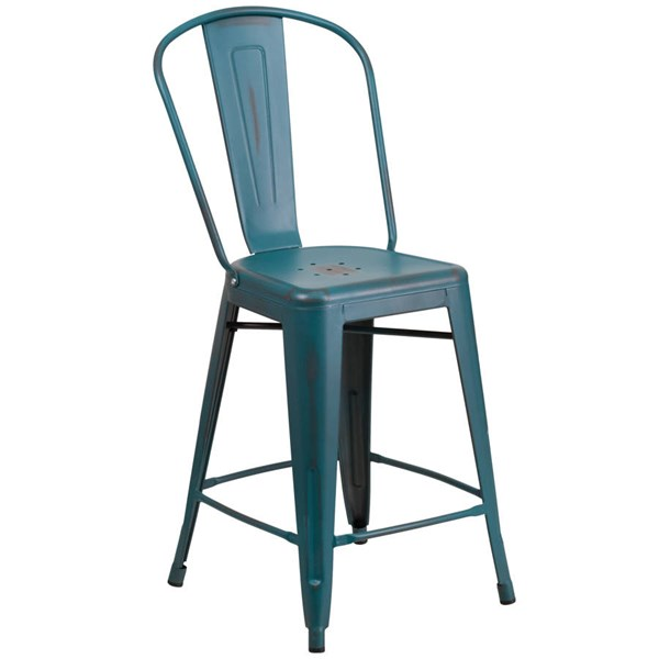 Flash Furniture 24 Inch Kelly Blue Teal Metal Indoor Outdoor Counter Height Stool with Back FLF-ET-3534-24-KB-GG
