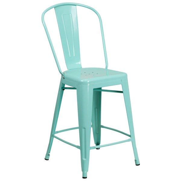 Flash Furniture 24 Inch Mint Green Metal Indoor Outdoor Counter Height Stool with Back FLF-ET-3534-24-MINT-GG