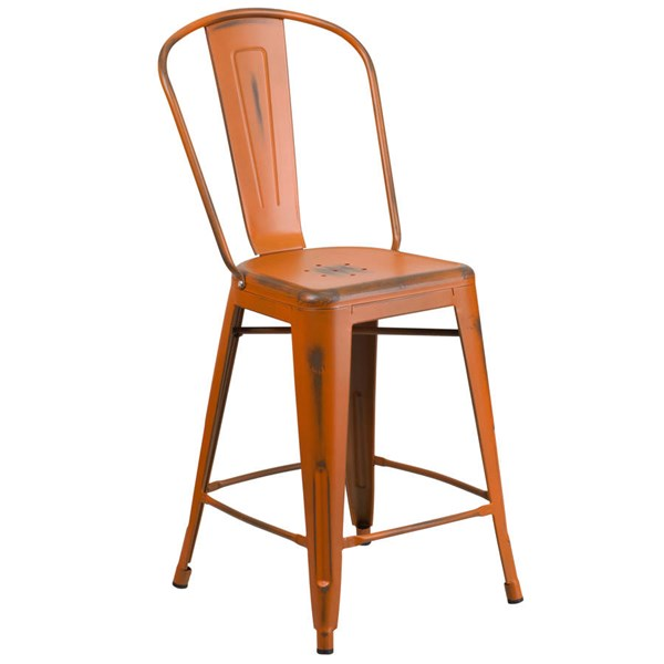 Flash Furniture 24 Inch Orange Metal Indoor Outdoor Counter Height Stool with Back FLF-ET-3534-24-OR-GG