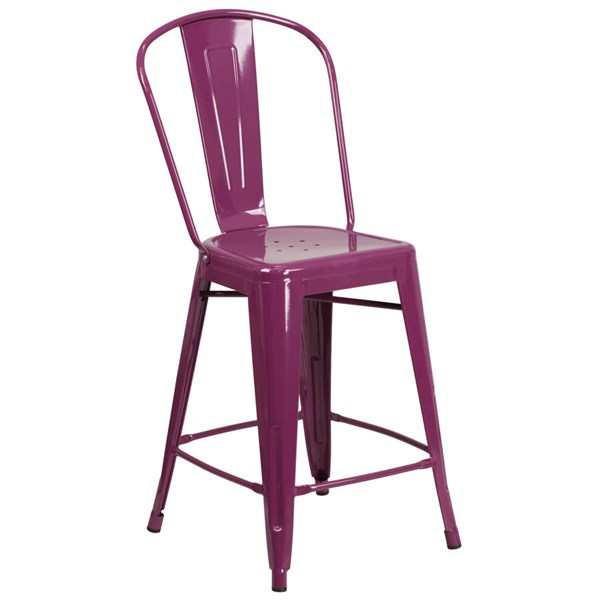 Flash Furniture 24 Inch Purple Metal Indoor Outdoor Counter Height Stool with Back FLF-ET-3534-24-PUR-GG