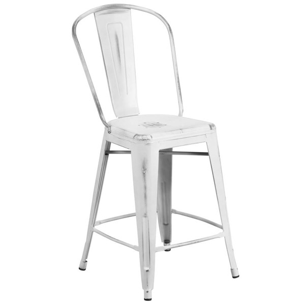 Flash Furniture 24 Inch White Metal Indoor Outdoor Counter Height Stool with Back FLF-ET-3534-24-WH-GG