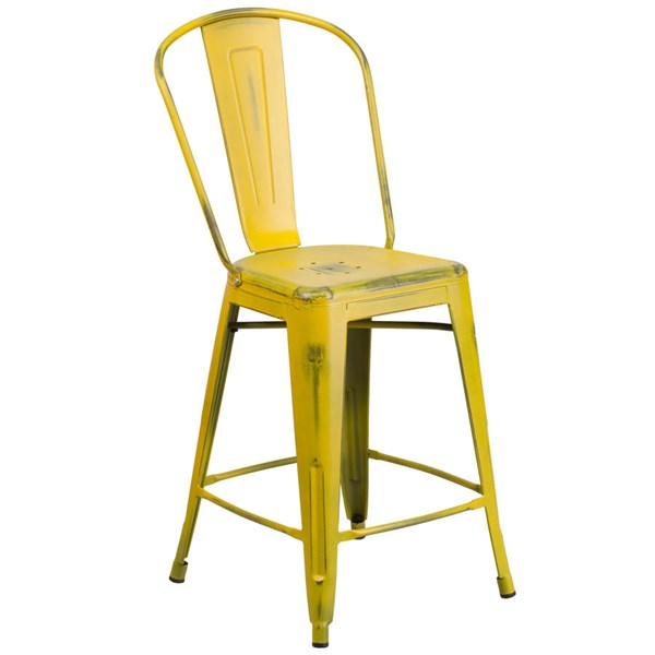 Flash Furniture 24 Inch Yellow Metal Indoor Outdoor Counter Height Stool with Back FLF-ET-3534-24-YL-GG