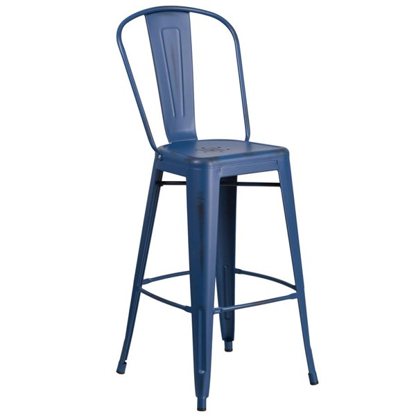 Flash Furniture 30 Inch Antique Blue Metal Indoor Outdoor Barstool with Back FLF-ET-3534-30-AB-GG