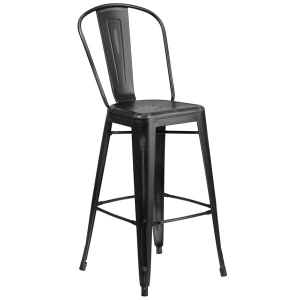Flash Furniture 30 Inch Black Metal Indoor Outdoor Barstool with Back FLF-ET-3534-30-BK-GG