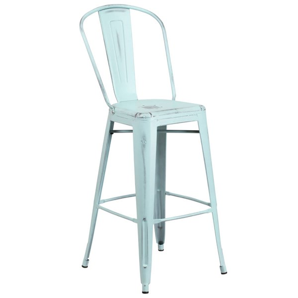 Flash Furniture 30 Inch Green Blue Metal Indoor Outdoor Barstool with Back FLF-ET-3534-30-DB-GG