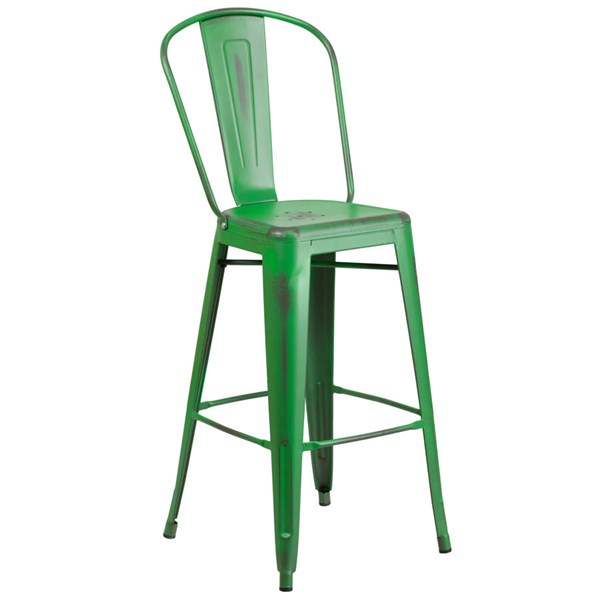 Flash Furniture 30 Inch Green Metal Indoor Outdoor Barstool with Back FLF-ET-3534-30-GN-GG