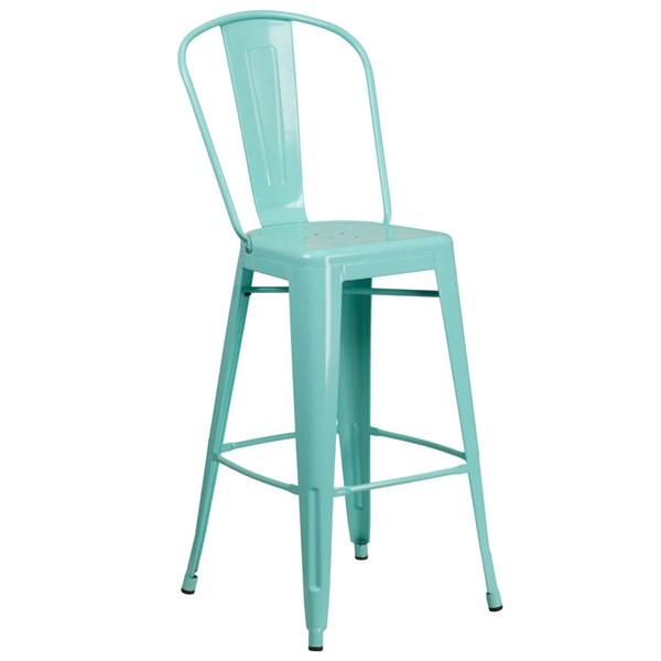 Flash Furniture 30 Inch Mint Green Metal Indoor Outdoor Barstool with Back FLF-ET-3534-30-MINT-GG