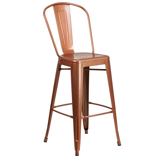 Flash Furniture 30 Inch Copper Brown Metal Indoor Outdoor Barstool with Back FLF-ET-3534-30-POC-GG
