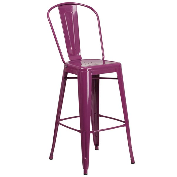 Flash Furniture 30 Inch Purple Metal Indoor Outdoor Barstool with Back FLF-ET-3534-30-PUR-GG