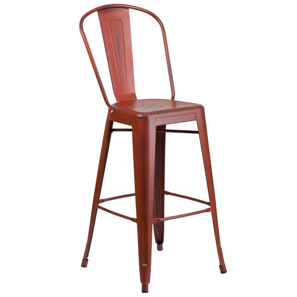 Flash Furniture 30 Inch Kelly Red Metal Indoor Outdoor Barstool with Back FLF-ET-3534-30-RD-GG