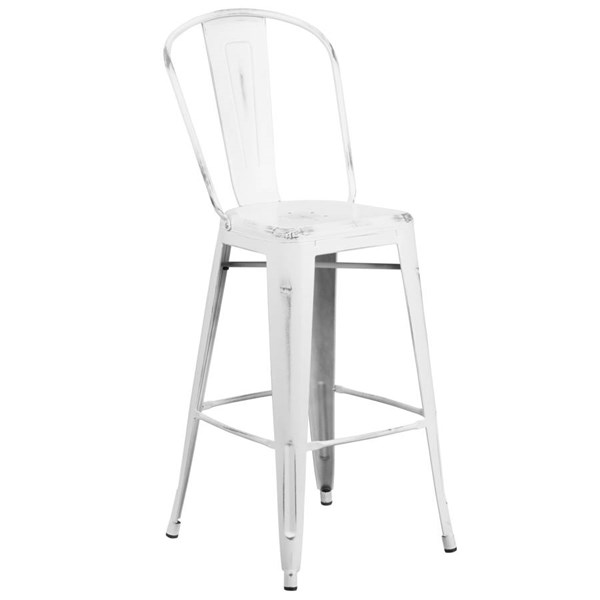 Flash Furniture 30 Inch White Metal Indoor Outdoor Barstool with Back FLF-ET-3534-30-WH-GG