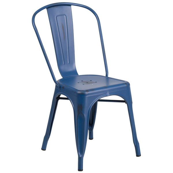 Flash Furniture Distressed Antique Blue Metal Indoor Outdoor Stackable Chair FLF-ET-3534-AB-GG
