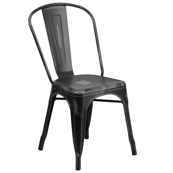 Flash Furniture Distressed Black Metal Indoor Outdoor Stackable Chair FLF-ET-3534-BK-GG