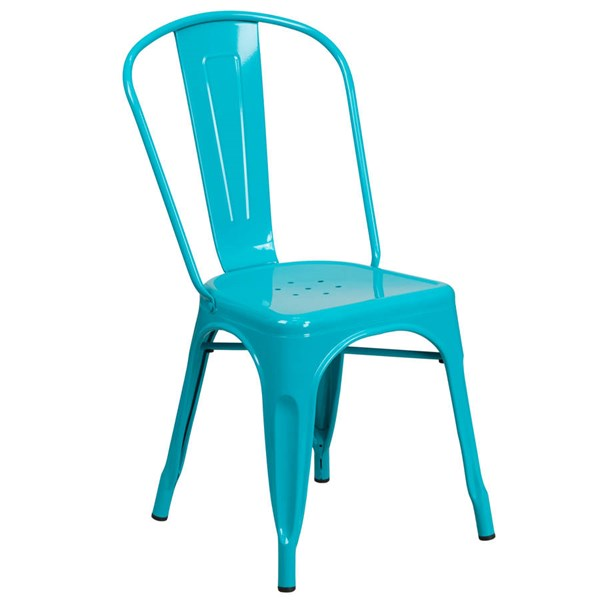 Flash Furniture Crystal Teal Blue Metal Indoor Outdoor Stackable Chair FLF-ET-3534-CB-GG