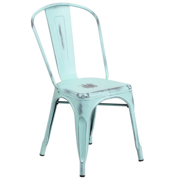 Flash Furniture Distressed Green Blue Metal Indoor Outdoor Stackable Chair FLF-ET-3534-DB-GG