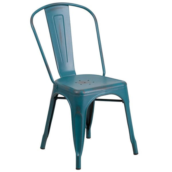 Flash Furniture Distressed Kelly Blue Teal Metal Indoor Outdoor Stackable Chair FLF-ET-3534-KB-GG