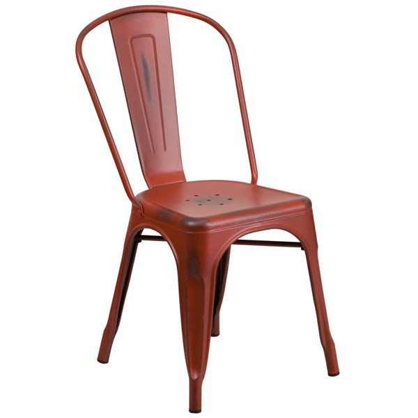 Flash Furniture Distressed Kelly Red Metal Indoor Outdoor Stackable Chair FLF-ET-3534-RD-GG