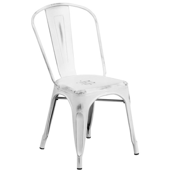 Flash Furniture Distressed White Metal Indoor Outdoor Stackable Chair FLF-ET-3534-WH-GG