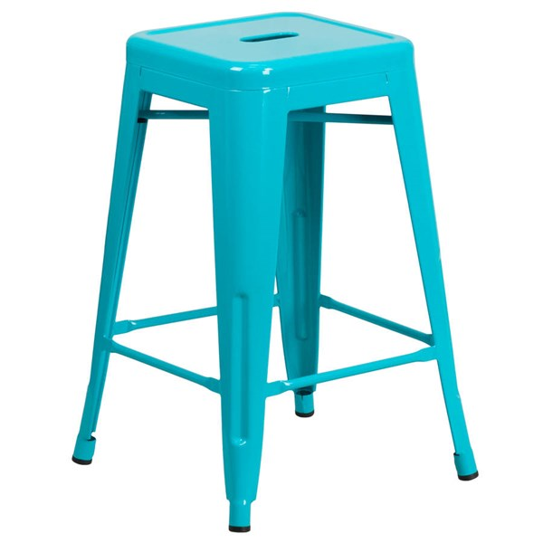 Flash Furniture 24 Inch Crystal Teal Blue Indoor Outdoor Counter Height Stool FLF-ET-BT3503-24-CB-GG