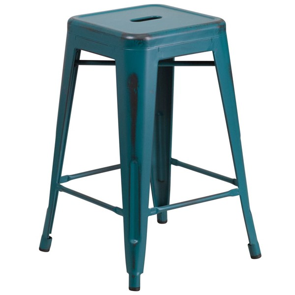 Flash Furniture 24 Inch Kelly Blue Teal Metal Indoor Outdoor Counter Height Stool FLF-ET-BT3503-24-KB-GG