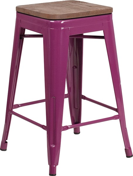 Flash Furniture Purple 24 Inch Back Metal Stool FLF-ET-BT3503-24-PUR-WD-GG