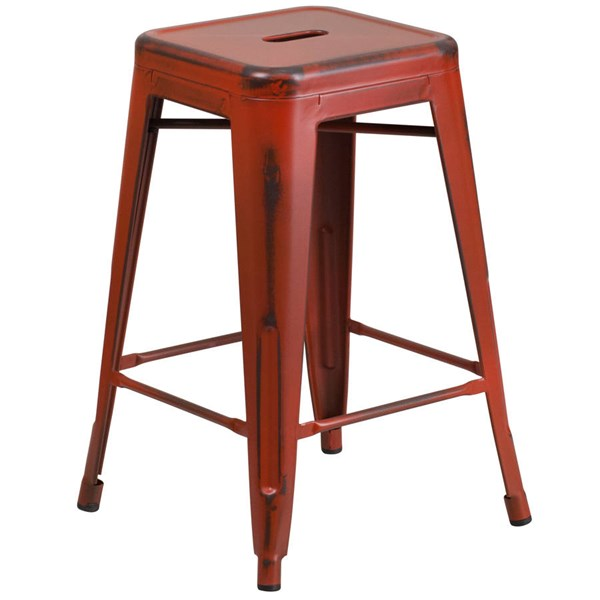 Flash Furniture 24 Inch Kelly Red Metal Indoor Outdoor Counter Height Stool FLF-ET-BT3503-24-RD-GG