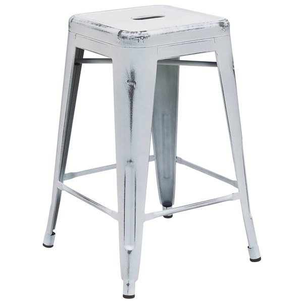 Flash Furniture 24 Inch White Metal Indoor Outdoor Counter Height Stool FLF-ET-BT3503-24-WH-GG