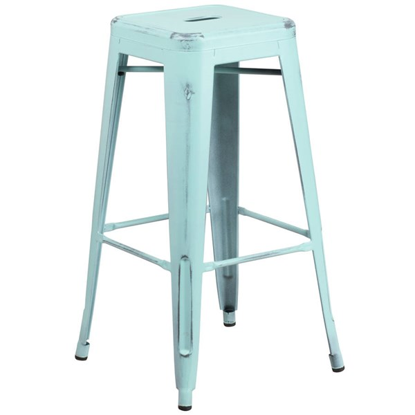 Flash Furniture 30 Inch Green Blue Metal Indoor Outdoor Barstool FLF-ET-BT3503-30-DB-GG