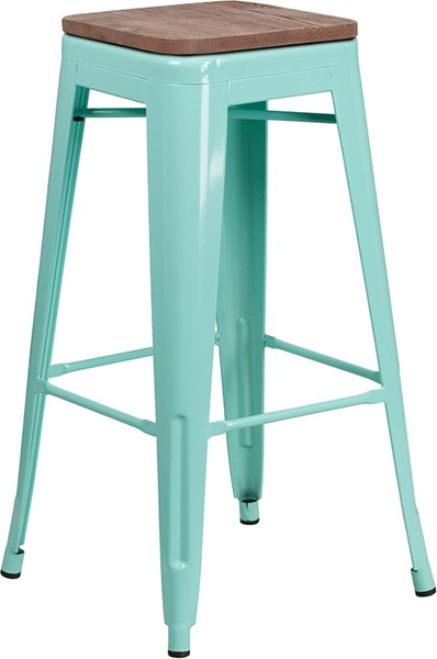 Flash Furniture Mint Green 30 Inch Back Metal Stool FLF-ET-BT3503-30-MINT-WD-GG