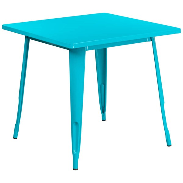 Flash Furniture Square Crystal Teal Blue Metal Indoor Outdoor Table FLF-ET-CT002-1-CB-GG