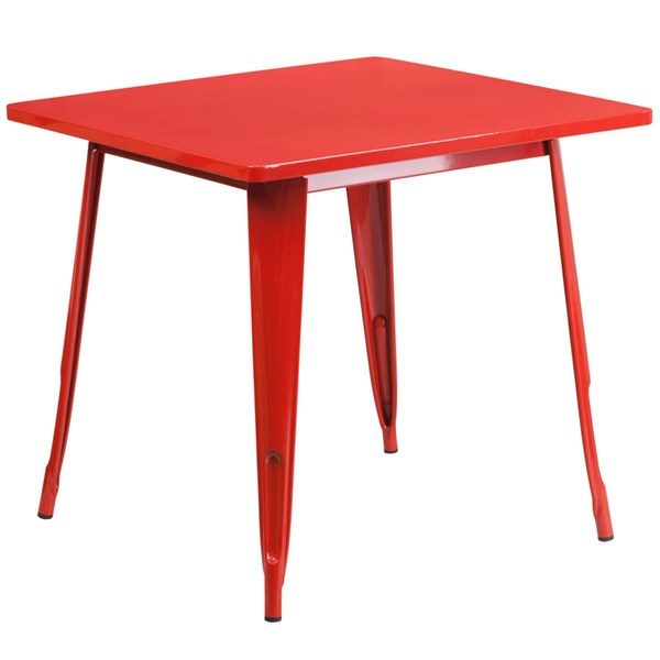 Square Top Red Metal Indoor Outdoor Table FLF-ET-CT002-1-RED-GG