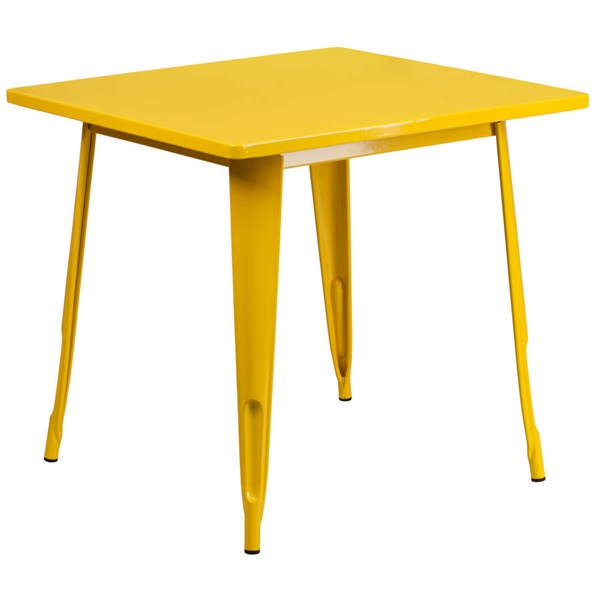 Square Top Yellow Metal Indoor Outdoor Table FLF-ET-CT002-1-YL-GG